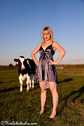 Fotoshoot with Femke, a Dutch Girl between the cows, pictures of a beautiful blond model
